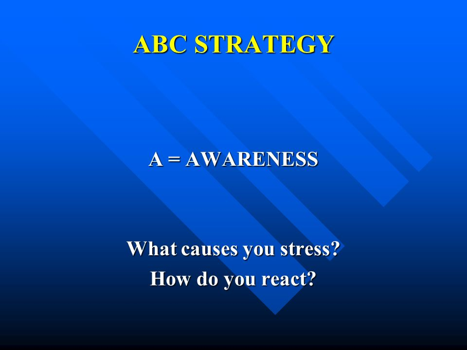 ABC STRATEGY A = AWARENESS What causes you stress How do you react