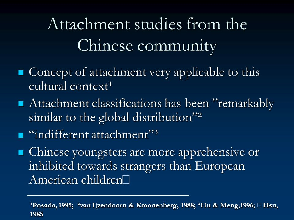 Attachment studies from the Chinese community