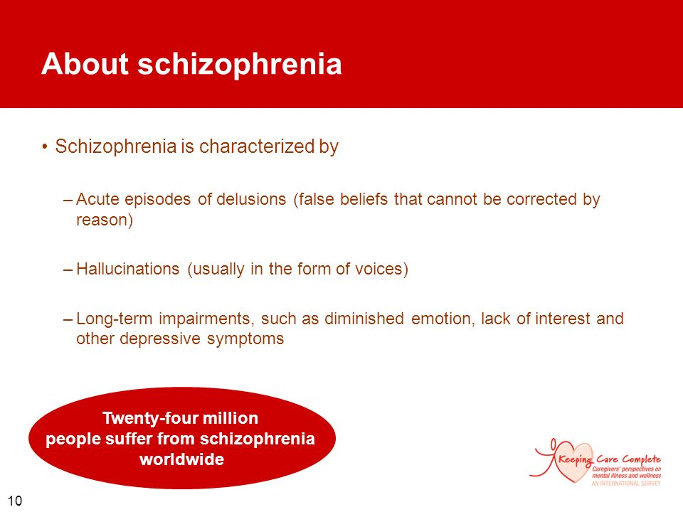 Twenty-four million people suffer from schizophrenia worldwide