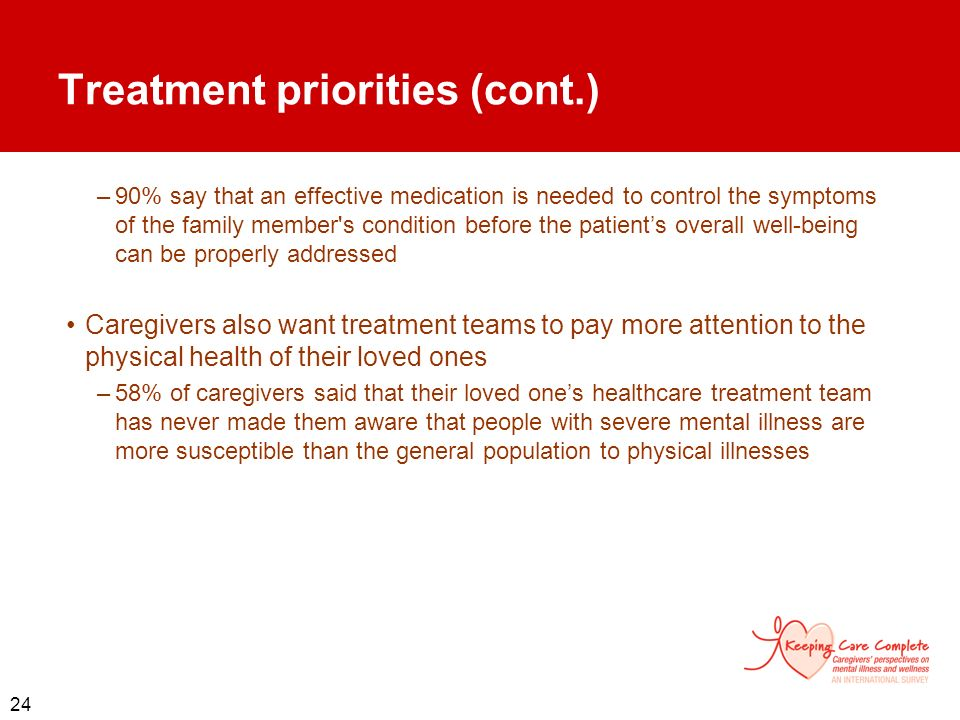 Treatment priorities (cont.)