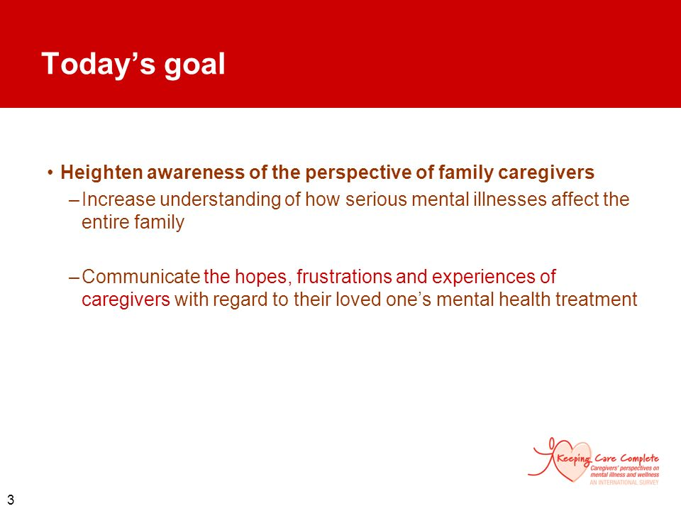 Today's goal Heighten awareness of the perspective of family caregivers.