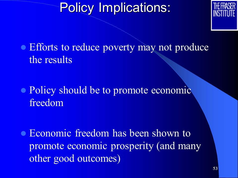 Policy Implications: Efforts to reduce poverty may not produce the results. Policy should be to promote economic freedom.