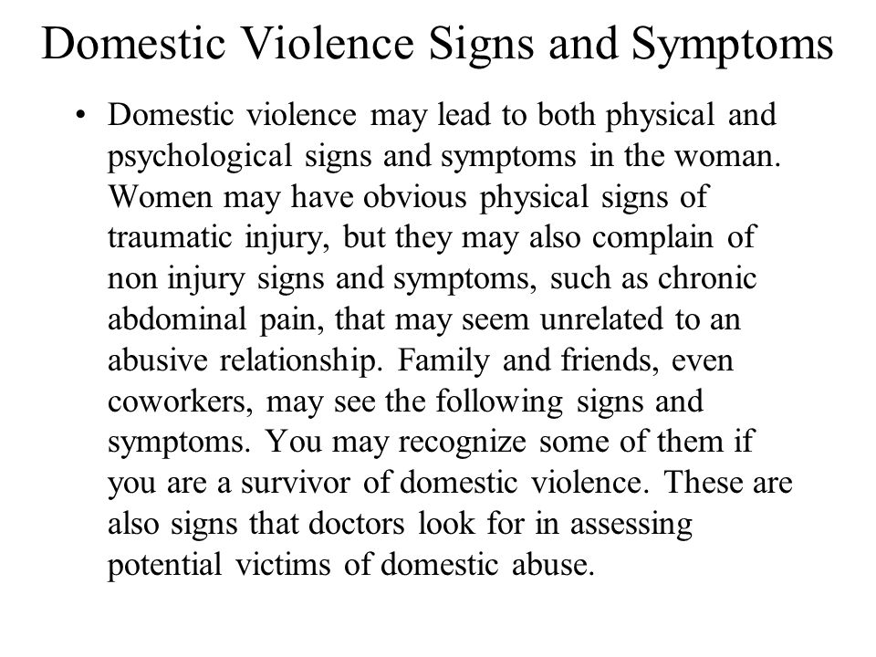 Domestic Violence Signs and Symptoms
