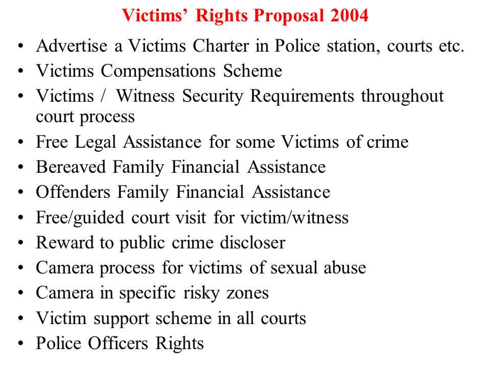 Victims' Rights Proposal 2004