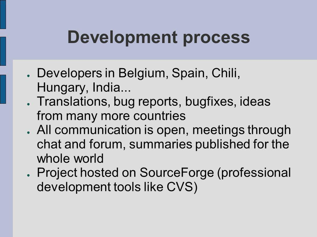 Development process Developers in Belgium, Spain, Chili, Hungary, India... Translations, bug reports, bugfixes, ideas from many more countries.