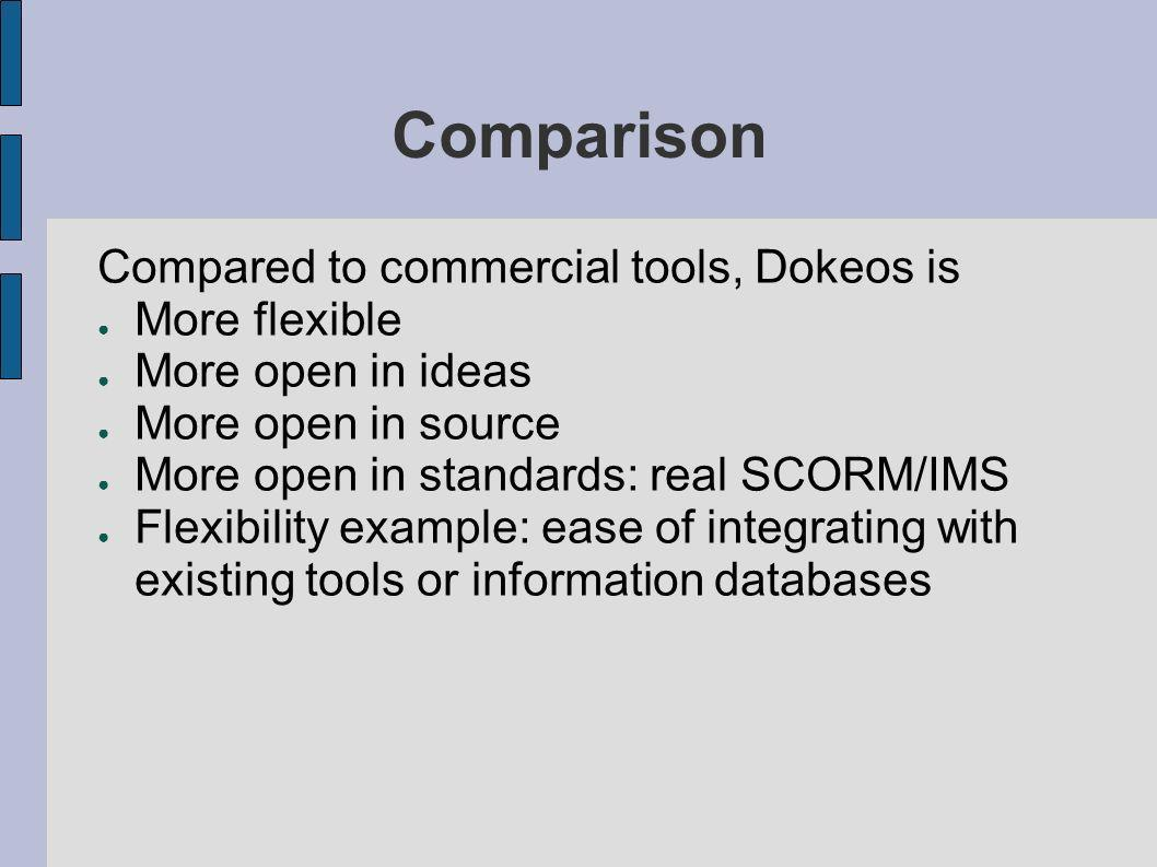 Comparison Compared to commercial tools, Dokeos is More flexible