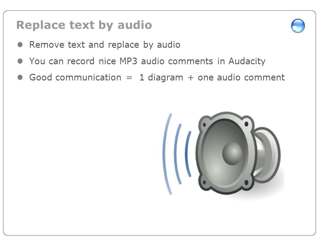 Replace text by audio Remove text and replace by audio