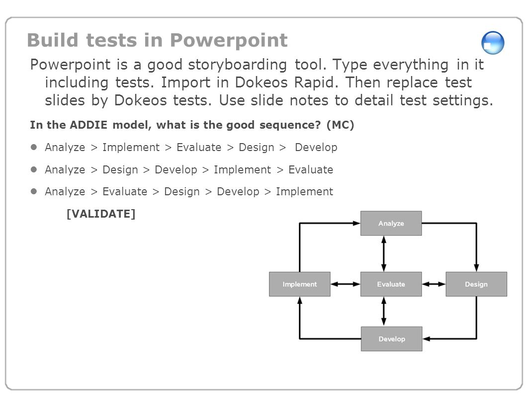 Build tests in Powerpoint