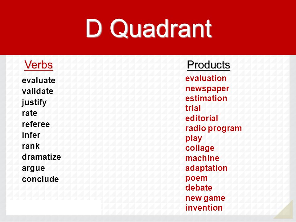 D Quadrant Verbs Products evaluation newspaper estimation trial