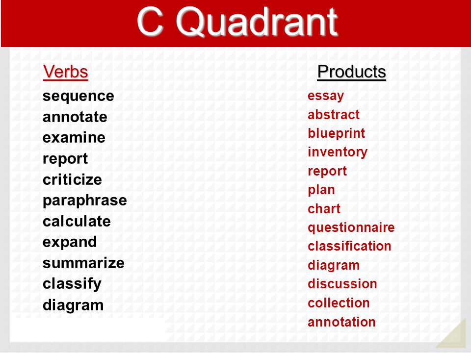 C Quadrant Verbs Products sequence annotate examine report criticize