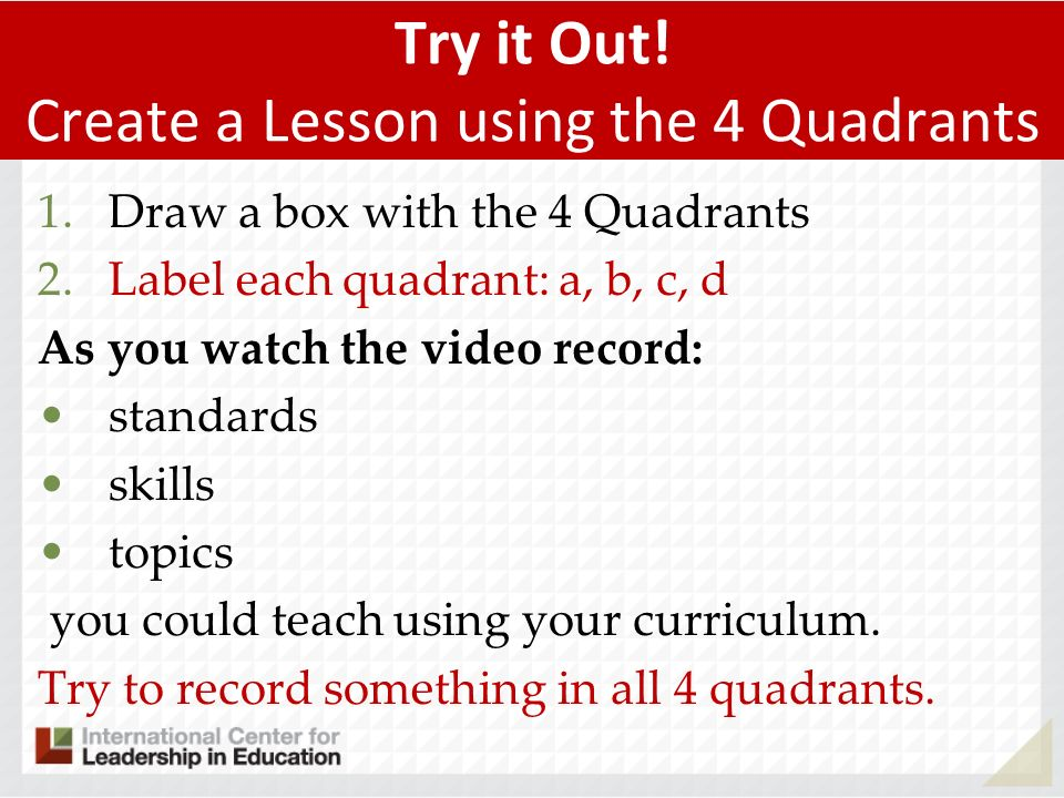 Try it Out! Create a Lesson using the 4 Quadrants