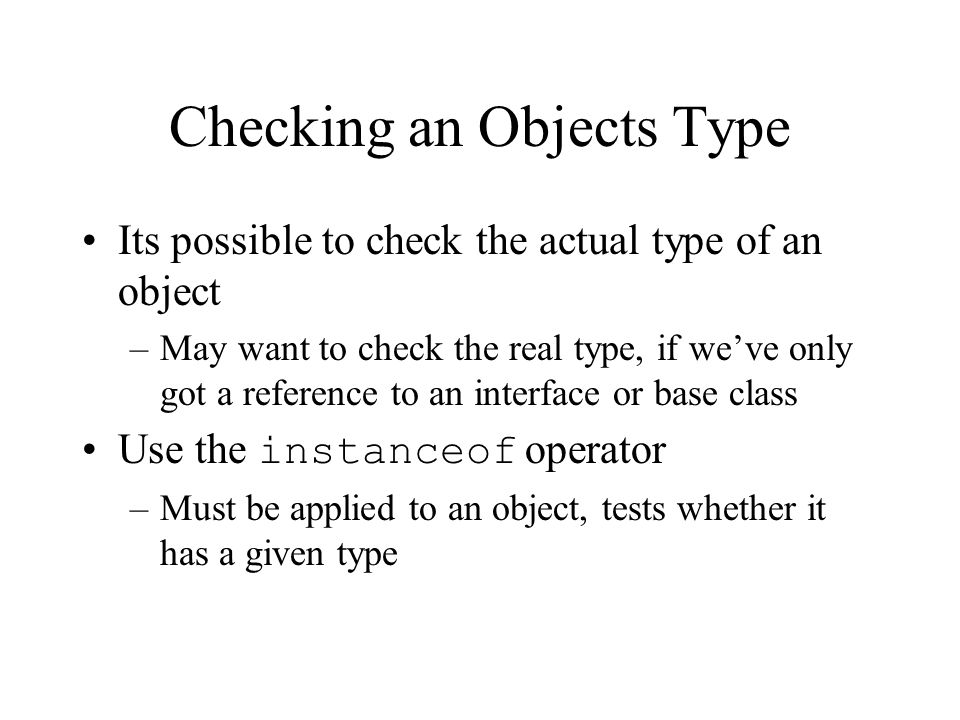 Checking an Objects Type