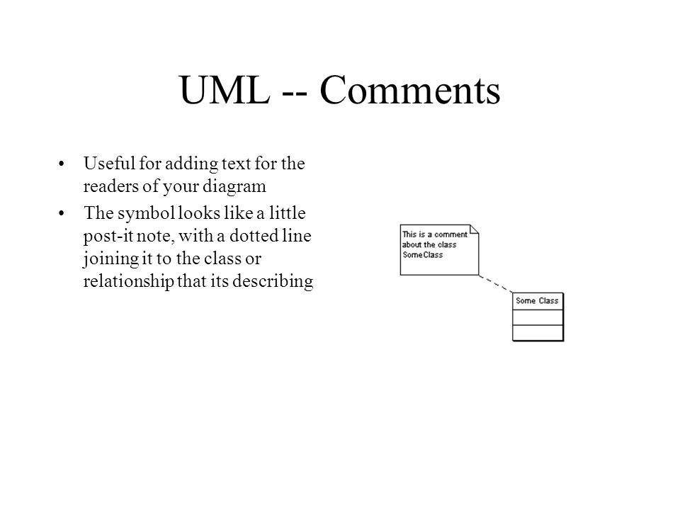 UML -- Comments Useful for adding text for the readers of your diagram