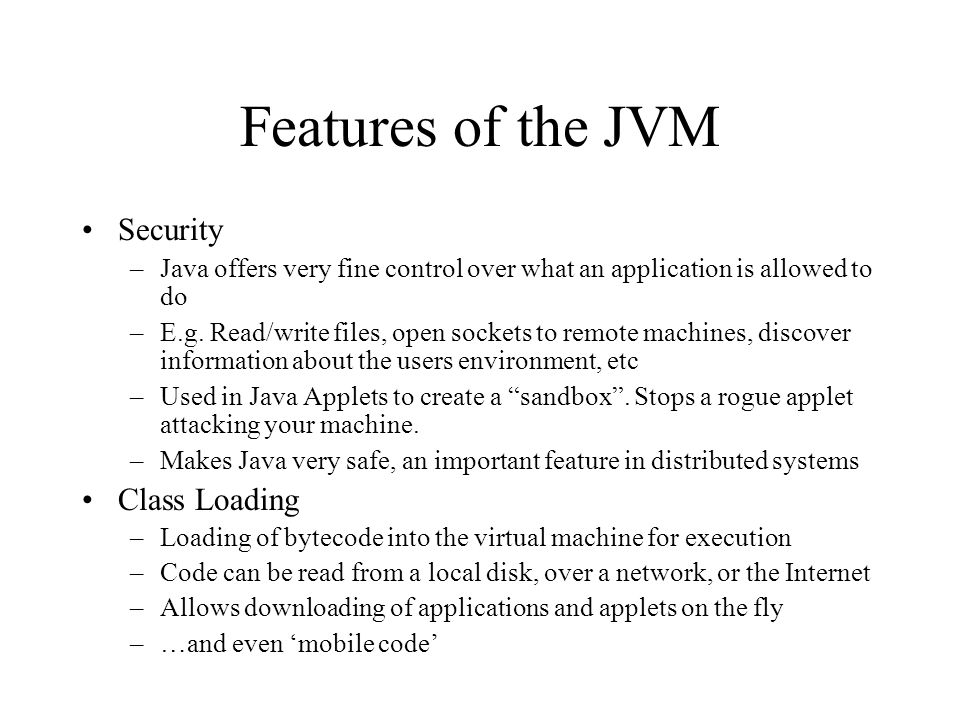 Features of the JVM Security Class Loading
