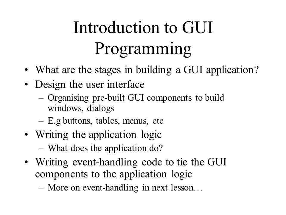 Introduction to GUI Programming