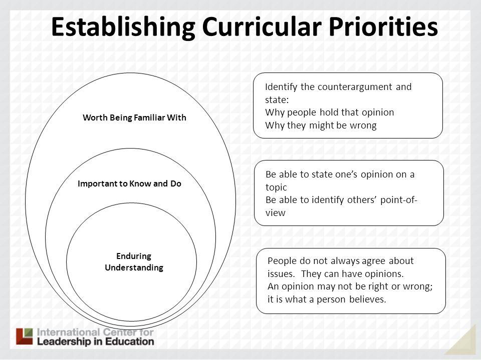 Establishing Curricular Priorities Enduring Understanding