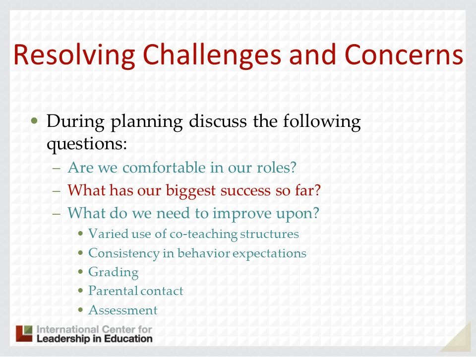 Resolving Challenges and Concerns