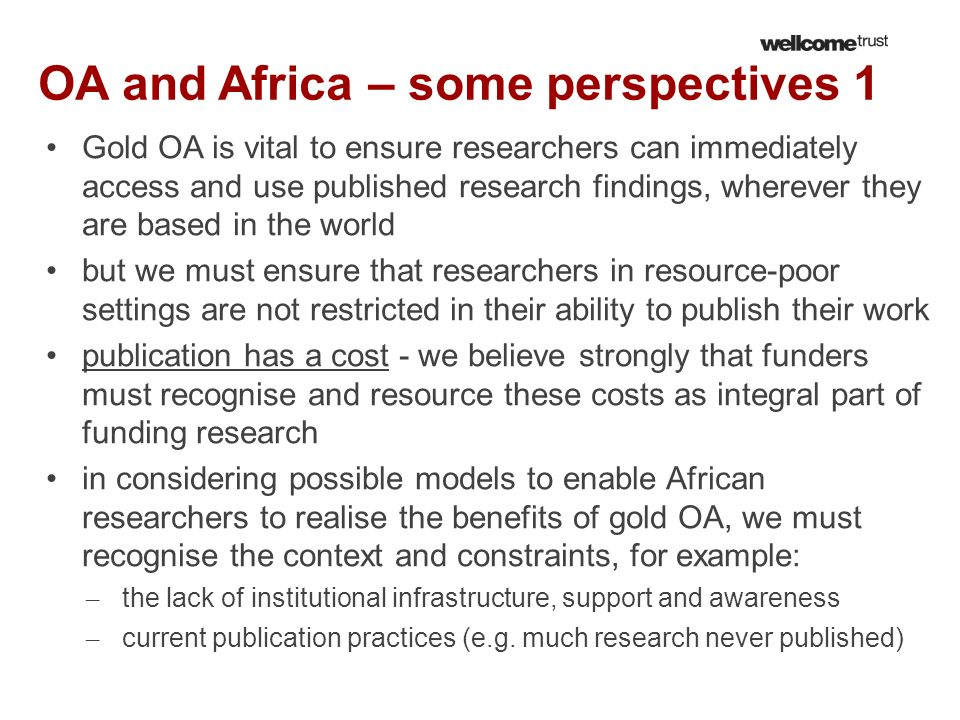 OA and Africa – some perspectives 1