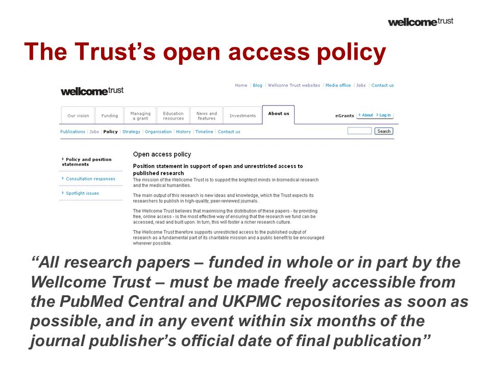 The Trust's open access policy