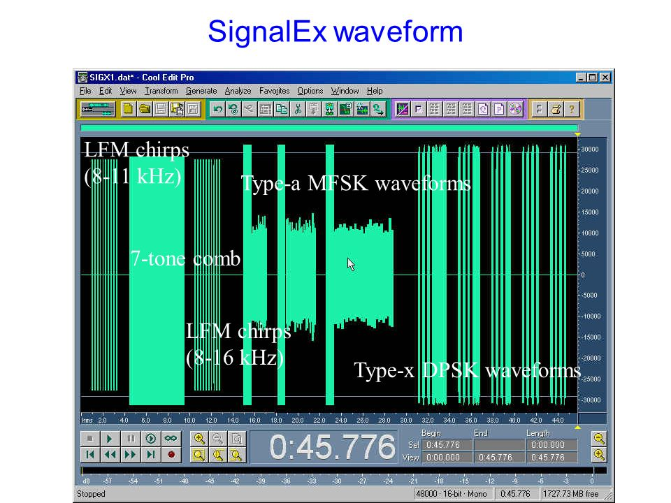 SignalEx waveform LFM chirps (8-11 kHz) Type-a MFSK waveforms