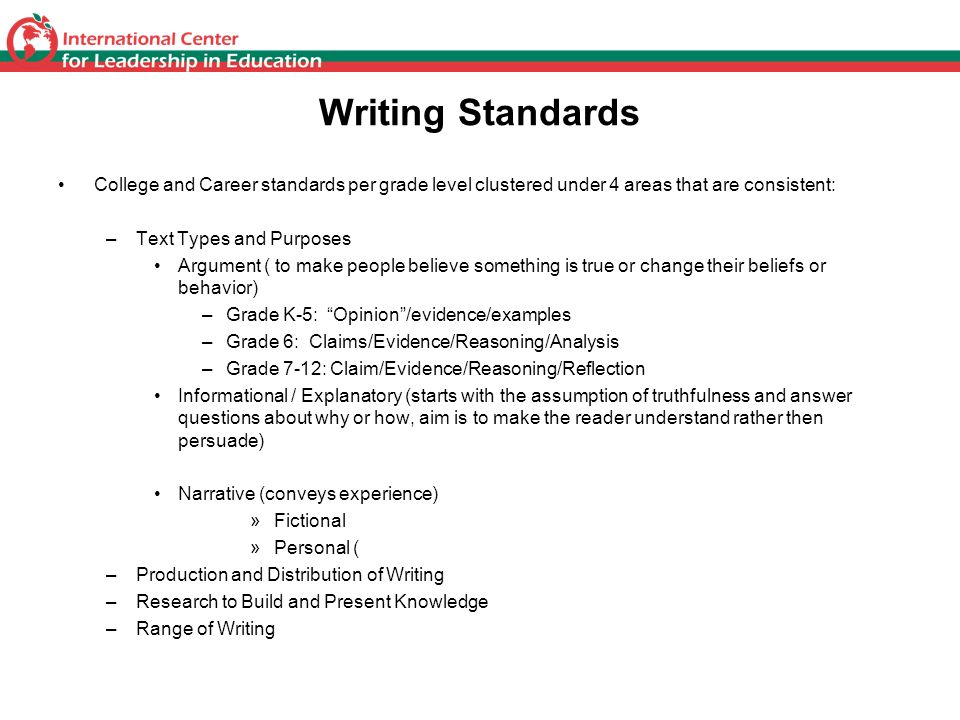 Writing Standards College and Career standards per grade level clustered under 4 areas that are consistent: