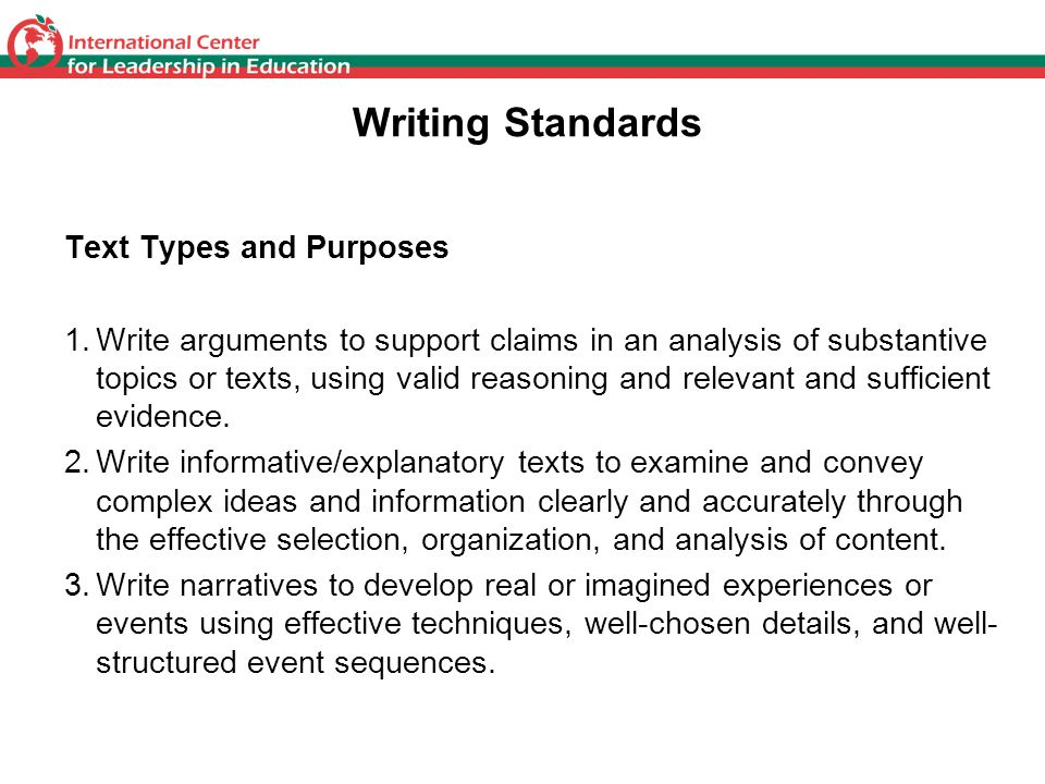 Writing Standards Text Types and Purposes