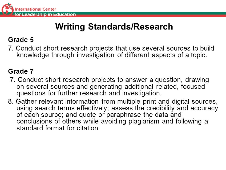 Writing Standards/Research