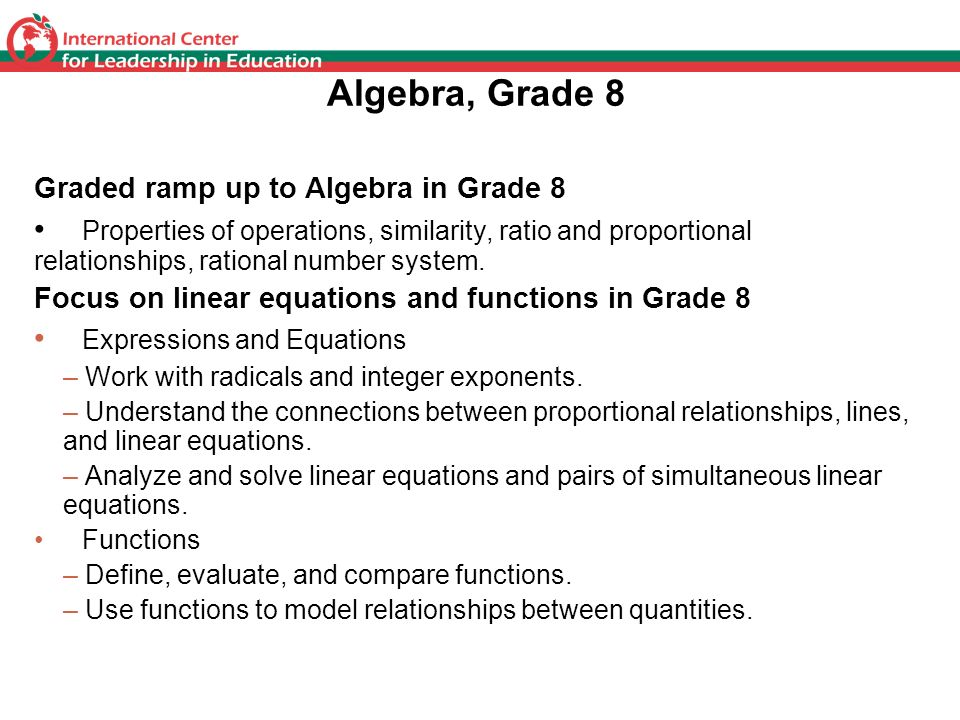 Algebra, Grade 8 Graded ramp up to Algebra in Grade 8.