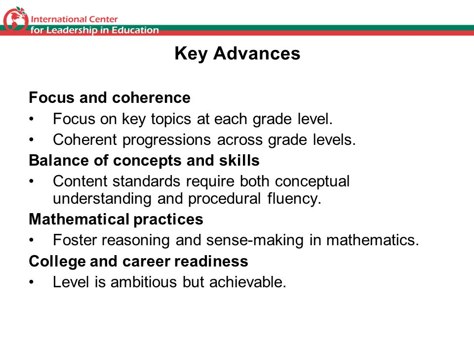 Key Advances Focus and coherence