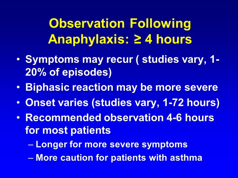 Observation Following Anaphylaxis: ≥ 4 hours