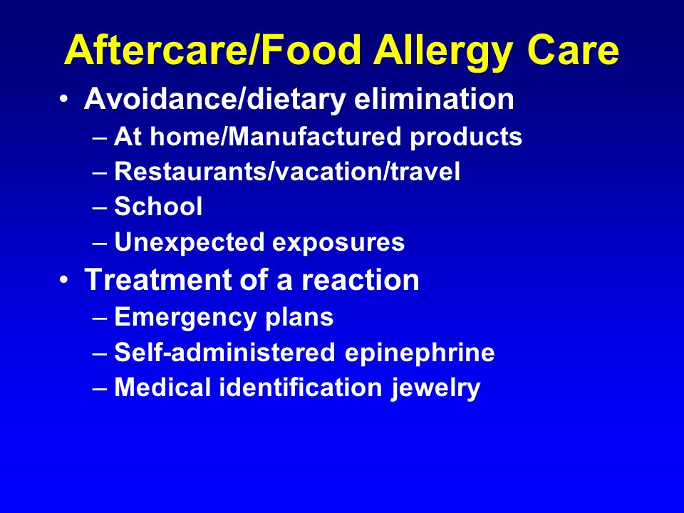 Aftercare/Food Allergy Care