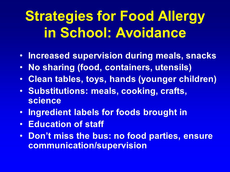 Strategies for Food Allergy in School: Avoidance