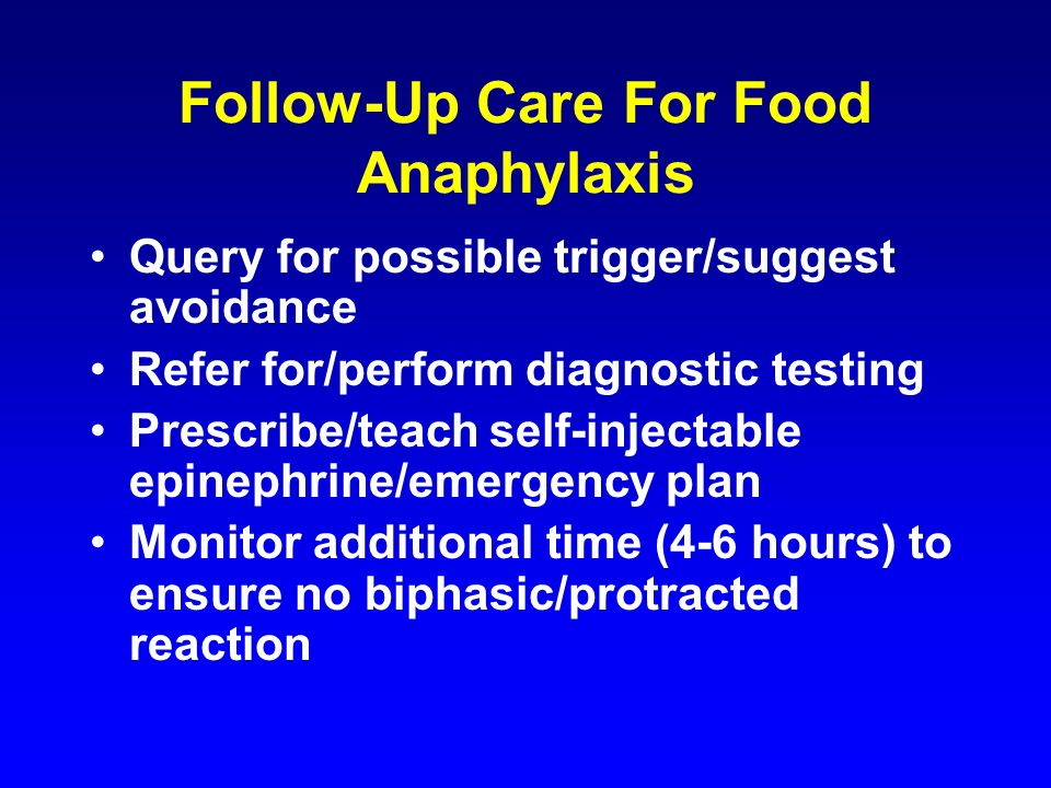 Follow-Up Care For Food Anaphylaxis