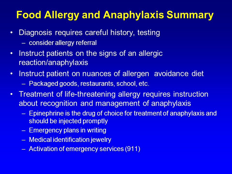 Food Allergy and Anaphylaxis Summary