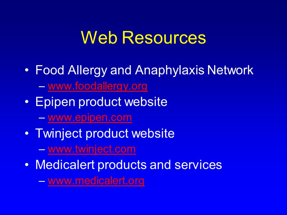 Web Resources Food Allergy and Anaphylaxis Network