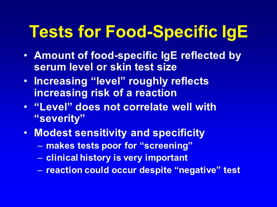 Tests for Food-Specific IgE