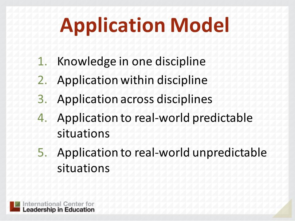 Application Model Knowledge in one discipline