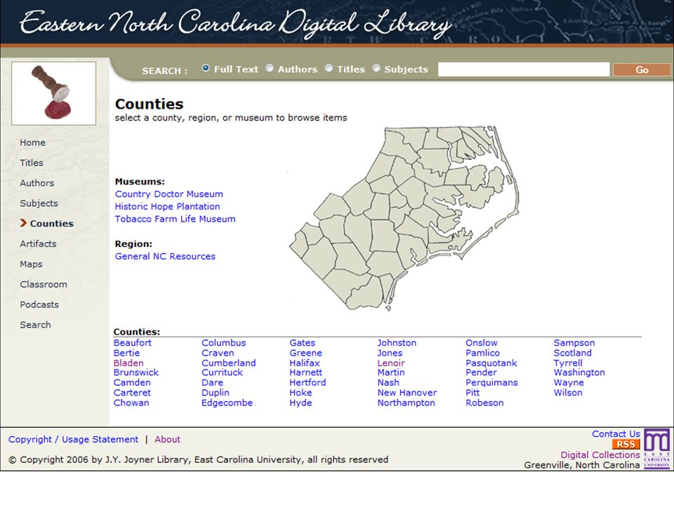 Or, as geography is considered a very important access point for this collection, you could browse through all items by county.