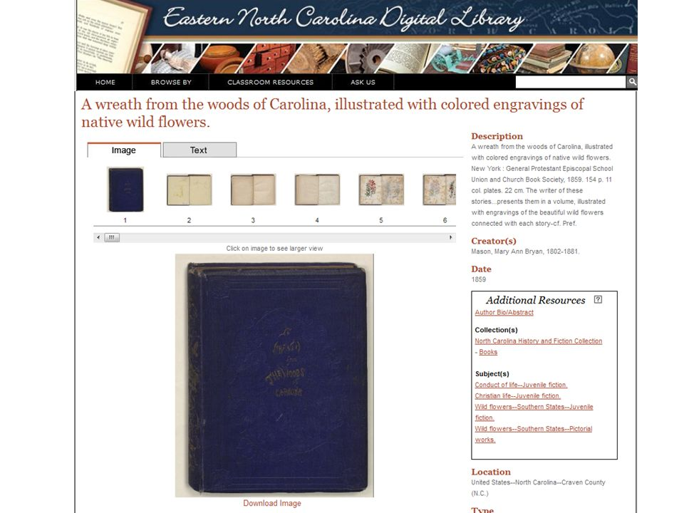 This is an example of one of the book records