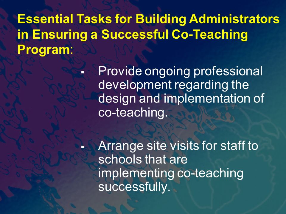 Essential Tasks for Building Administrators in Ensuring a Successful Co-Teaching Program:
