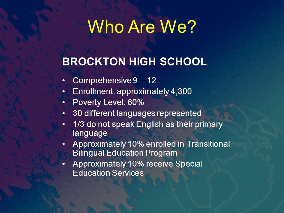 Who Are We BROCKTON HIGH SCHOOL Comprehensive 9 – 12