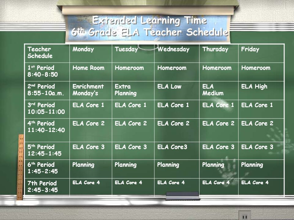 Extended Learning Time 6th Grade ELA Teacher Schedule