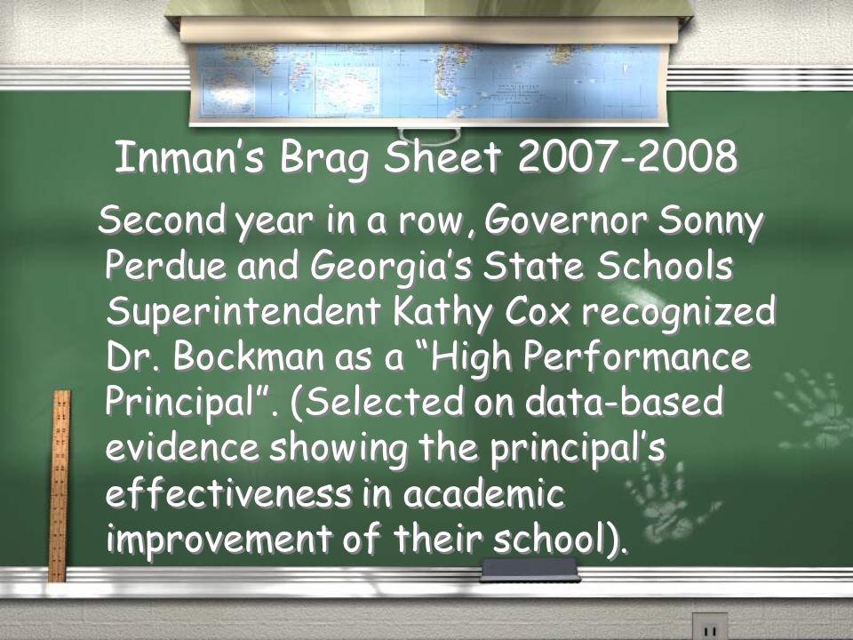 Inman's Brag Sheet 2007-2008