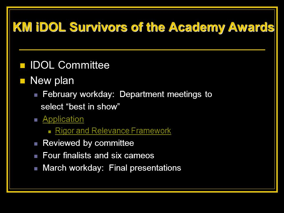 KM iDOL Survivors of the Academy Awards
