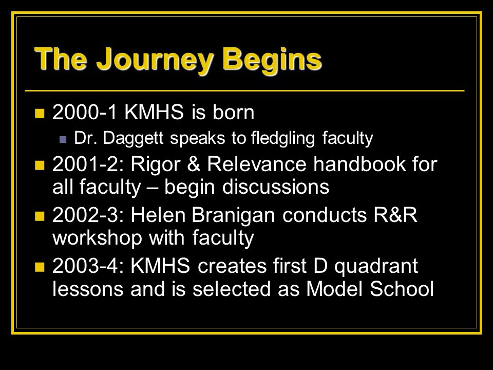 The Journey Begins 2000-1 KMHS is born