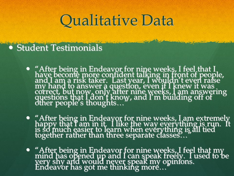 Qualitative Data Student Testimonials