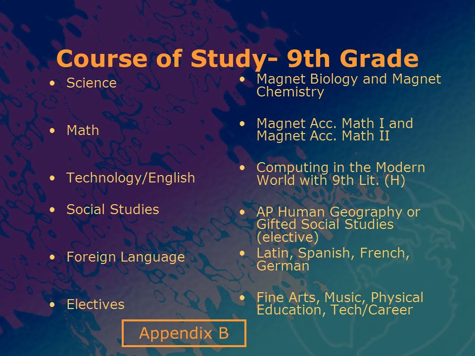 Course of Study- 9th Grade