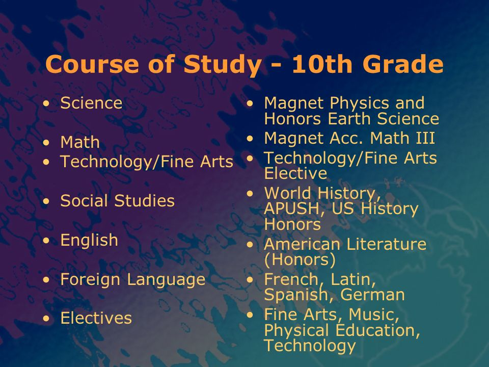 Course of Study - 10th Grade