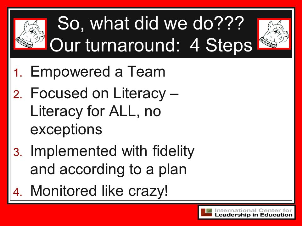 So, what did we do Our turnaround: 4 Steps Empowered a Team