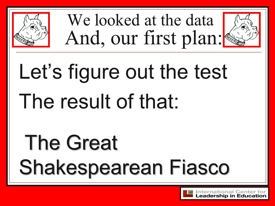 We looked at the data And, our first plan: